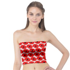 Red Peony Flower Pattern Women s Tube Tops