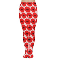 Red Peony Flower Pattern Women s Tights