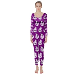 Ladybug Vector Geometric Tile Pattern Long Sleeve Catsuit