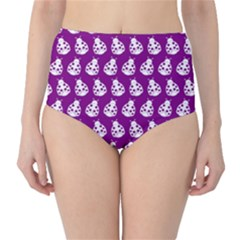 Ladybug Vector Geometric Tile Pattern High-Waist Bikini Bottoms