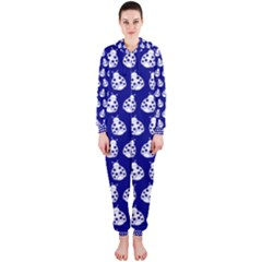 Ladybug Vector Geometric Tile Pattern Hooded Jumpsuit (Ladies)