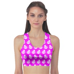 Ladybug Vector Geometric Tile Pattern Sports Bra