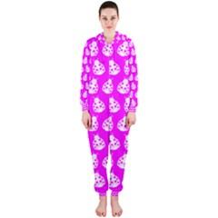 Ladybug Vector Geometric Tile Pattern Hooded Jumpsuit (ladies)