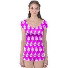 Ladybug Vector Geometric Tile Pattern Short Sleeve Leotard