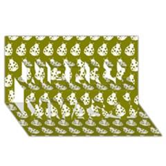 Ladybug Vector Geometric Tile Pattern Merry Xmas 3D Greeting Card (8x4)
