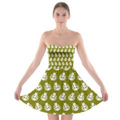 Ladybug Vector Geometric Tile Pattern Strapless Bra Top Dress