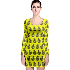Ladybug Vector Geometric Tile Pattern Long Sleeve Bodycon Dresses