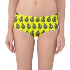 Ladybug Vector Geometric Tile Pattern Mid-Waist Bikini Bottoms