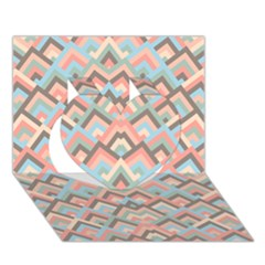 Trendy Chic Modern Chevron Pattern Heart 3d Greeting Card (7x5)