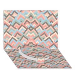 Trendy Chic Modern Chevron Pattern Circle Bottom 3D Greeting Card (7x5)
