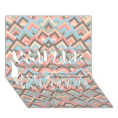 Trendy Chic Modern Chevron Pattern YOU ARE INVITED 3D Greeting Card (7x5)