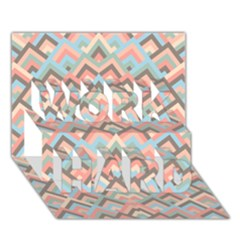 Trendy Chic Modern Chevron Pattern WORK HARD 3D Greeting Card (7x5)