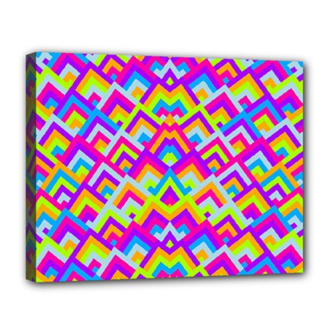 Colorful Trendy Chic Modern Chevron Pattern Canvas 14  X 11