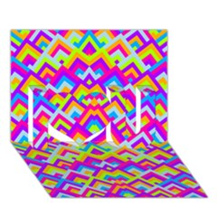 Colorful Trendy Chic Modern Chevron Pattern I Love You 3D Greeting Card (7x5)
