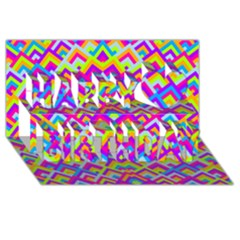 Colorful Trendy Chic Modern Chevron Pattern Happy Birthday 3D Greeting Card (8x4)