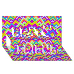 Colorful Trendy Chic Modern Chevron Pattern Best Friends 3d Greeting Card (8x4)