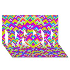 Colorful Trendy Chic Modern Chevron Pattern MOM 3D Greeting Card (8x4)