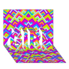 Colorful Trendy Chic Modern Chevron Pattern GIRL 3D Greeting Card (7x5)
