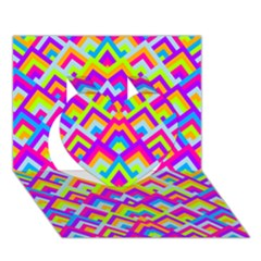 Colorful Trendy Chic Modern Chevron Pattern Heart 3D Greeting Card (7x5)