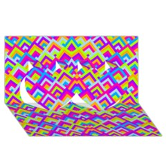 Colorful Trendy Chic Modern Chevron Pattern Twin Hearts 3d Greeting Card (8x4)
