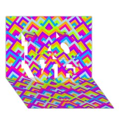 Colorful Trendy Chic Modern Chevron Pattern LOVE 3D Greeting Card (7x5)