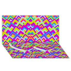 Colorful Trendy Chic Modern Chevron Pattern Twin Heart Bottom 3D Greeting Card (8x4)