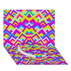 Colorful Trendy Chic Modern Chevron Pattern Circle Bottom 3D Greeting Card (7x5)