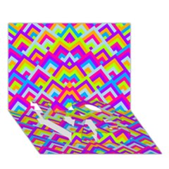 Colorful Trendy Chic Modern Chevron Pattern LOVE Bottom 3D Greeting Card (7x5)