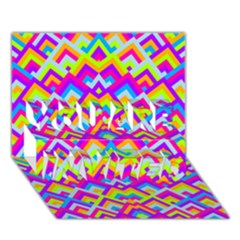 Colorful Trendy Chic Modern Chevron Pattern YOU ARE INVITED 3D Greeting Card (7x5)