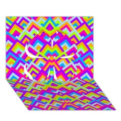 Colorful Trendy Chic Modern Chevron Pattern Clover 3d Greeting Card (7x5)