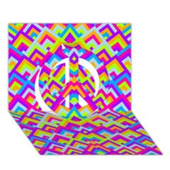 Colorful Trendy Chic Modern Chevron Pattern Peace Sign 3D Greeting Card (7x5)