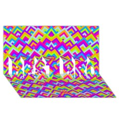 Colorful Trendy Chic Modern Chevron Pattern BEST BRO 3D Greeting Card (8x4)