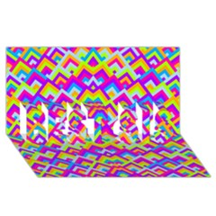 Colorful Trendy Chic Modern Chevron Pattern BEST SIS 3D Greeting Card (8x4)