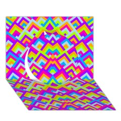 Colorful Trendy Chic Modern Chevron Pattern Circle 3d Greeting Card (7x5)
