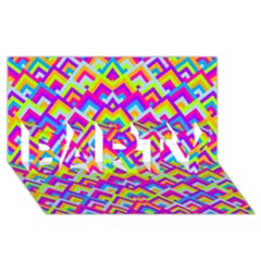 Colorful Trendy Chic Modern Chevron Pattern PARTY 3D Greeting Card (8x4)