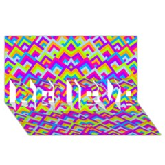 Colorful Trendy Chic Modern Chevron Pattern BELIEVE 3D Greeting Card (8x4)