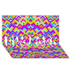 Colorful Trendy Chic Modern Chevron Pattern Engaged 3d Greeting Card (8x4)