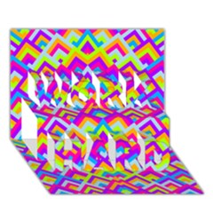 Colorful Trendy Chic Modern Chevron Pattern Work Hard 3d Greeting Card (7x5)
