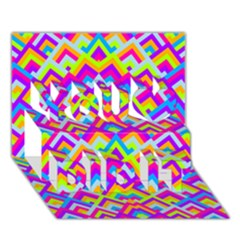 Colorful Trendy Chic Modern Chevron Pattern You Did It 3d Greeting Card (7x5)