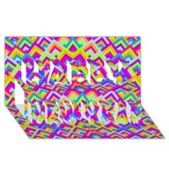 Colorful Trendy Chic Modern Chevron Pattern Happy New Year 3D Greeting Card (8x4)