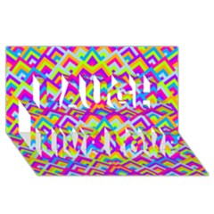 Colorful Trendy Chic Modern Chevron Pattern Laugh Live Love 3D Greeting Card (8x4)
