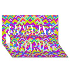 Colorful Trendy Chic Modern Chevron Pattern Congrats Graduate 3D Greeting Card (8x4)