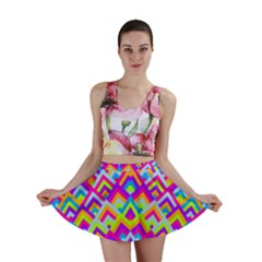 Colorful Trendy Chic Modern Chevron Pattern Mini Skirts