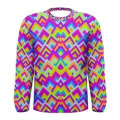 Colorful Trendy Chic Modern Chevron Pattern Men s Long Sleeve T-shirts