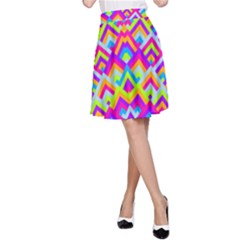 Colorful Trendy Chic Modern Chevron Pattern A-Line Skirts