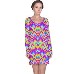 Colorful Trendy Chic Modern Chevron Pattern Long Sleeve Nightdresses