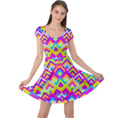 Colorful Trendy Chic Modern Chevron Pattern Cap Sleeve Dresses