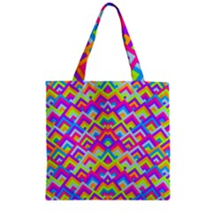 Colorful Trendy Chic Modern Chevron Pattern Zipper Grocery Tote Bags
