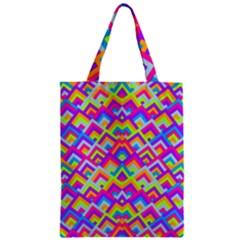 Colorful Trendy Chic Modern Chevron Pattern Zipper Classic Tote Bags