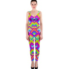 Colorful Trendy Chic Modern Chevron Pattern OnePiece Catsuits